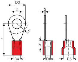 Káblové očko Vogt Verbindungstechnik 3671A, průřez 10 mm², průměr otvoru 6.5 mm, čiastočne izolované, červená, 1 ks
