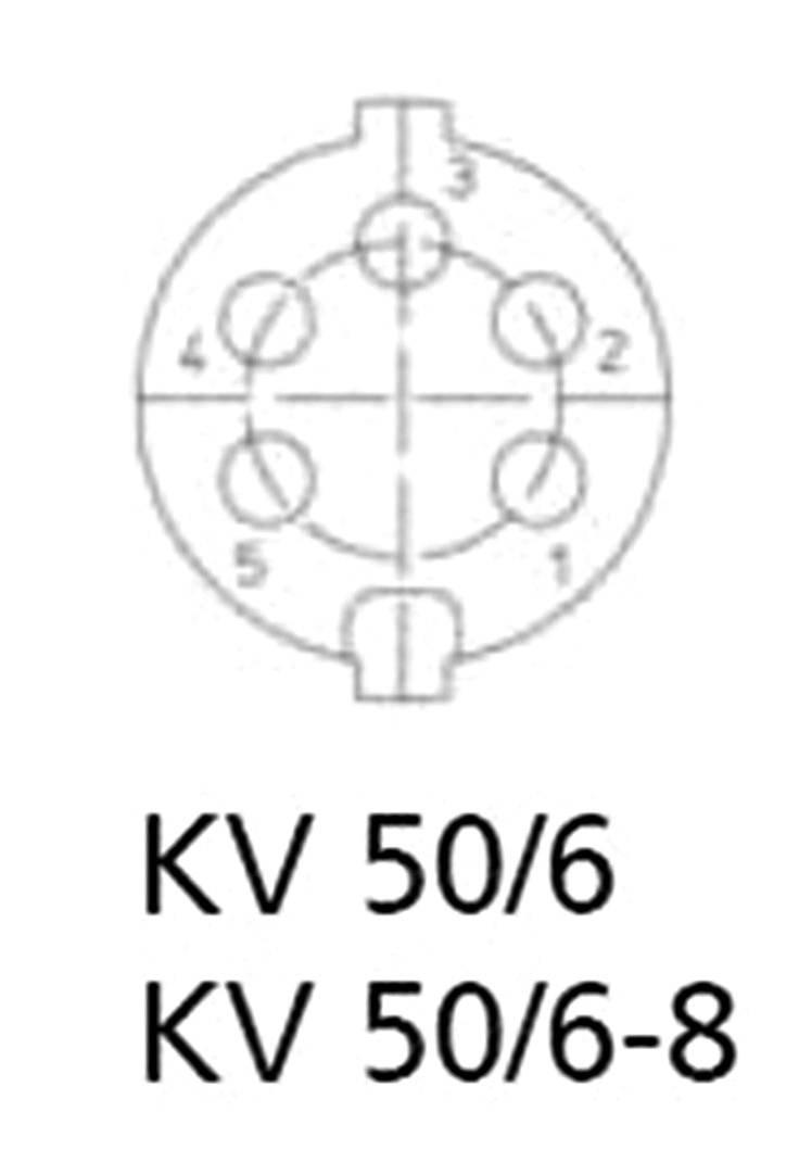 DIN kruhový konektor Lumberg KV 50/6, zásuvka, rovná, pólů 5, stříbrná, Cu Zn, 1 ks