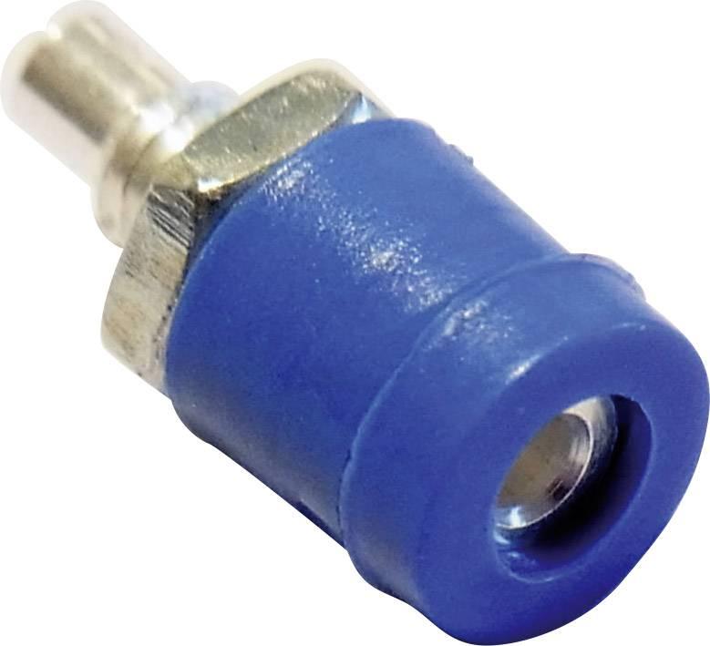 Mini laboratórna zásuvka Schnepp BU 2400 – zásuvka, vstavateľná vertikálna, Ø hrotu: 2 mm, modrá, 1 ks