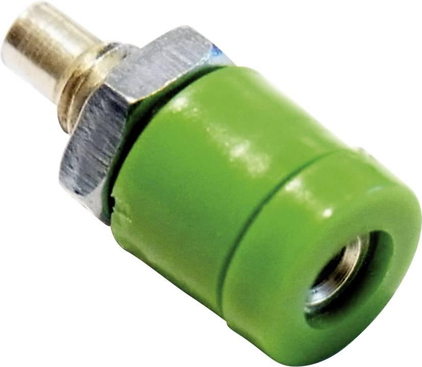 Mini laboratórna zásuvka Schnepp BU 2400 – zásuvka, vstavateľná vertikálna, Ø hrotu: 2 mm, zelená, 1 ks