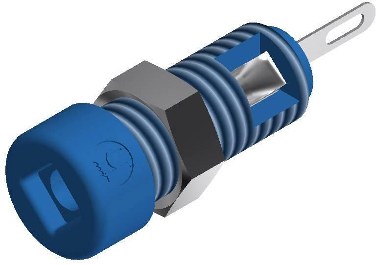 Mini laboratórna zásuvka SKS Hirschmann MBI 1 – zásuvka, vstavateľná vertikálna, Ø hrotu: 2 mm, modrá, 1 ks