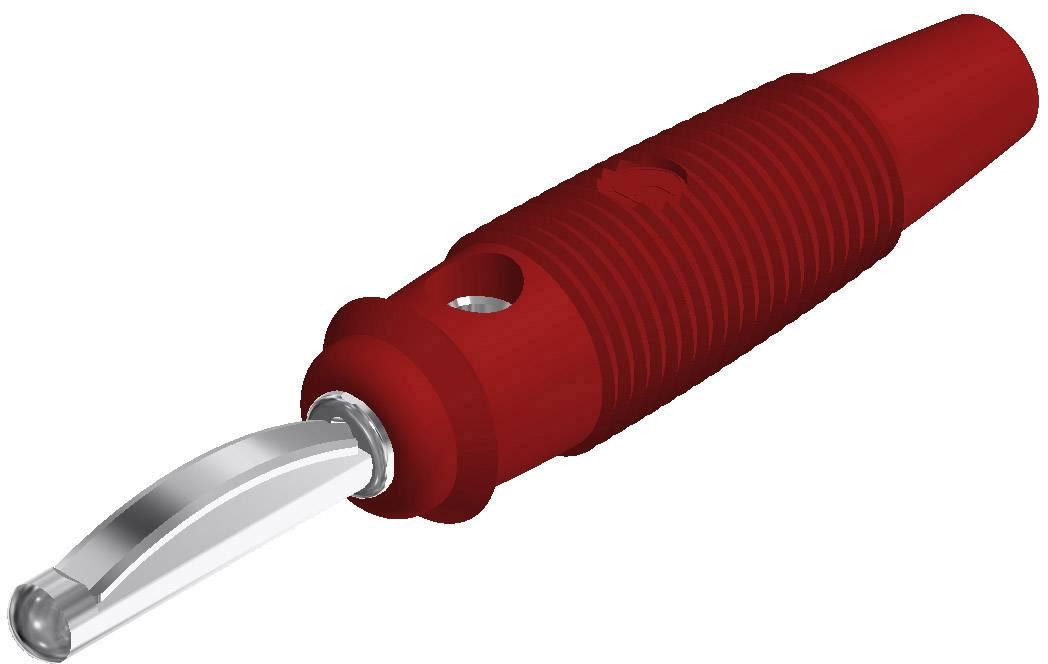 Banánový konektor SKS Hirschmann VQ 20 – zástrčka, rovná, Ø hrotu: 4 mm, červená, 1 ks