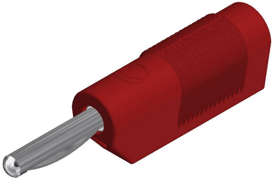Banánový konektor SKS Hirschmann VSB 20 – zástrčka, rovná, Ø hrotu: 4 mm, červená, 1 ks
