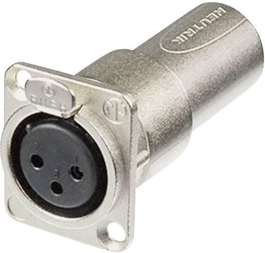 XLR zásuvka / XLR zástrčka Neutrik NA3FDM, adaptér rovný, stříbrná