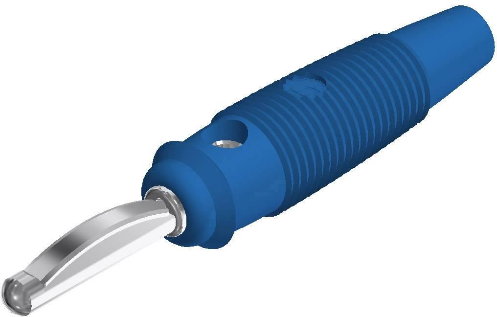 Banánový konektor SKS Hirschmann VQ 20 – zástrčka, rovná, Ø hrotu: 4 mm, modrá, 1 ks