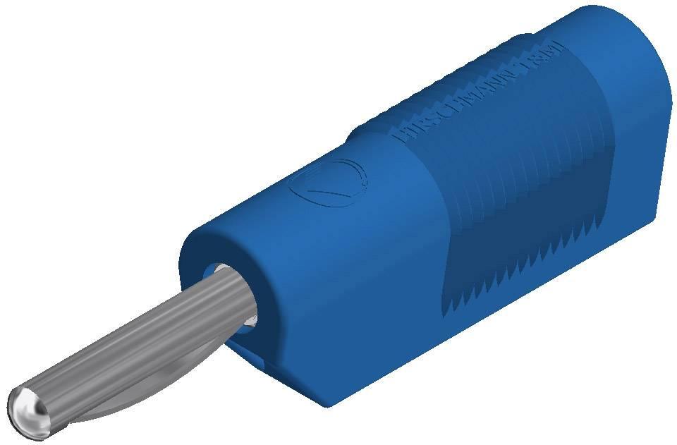 Banánový konektor SKS Hirschmann VSB 20 – zástrčka, rovná, Ø hrotu: 4 mm, modrá, 1 ks