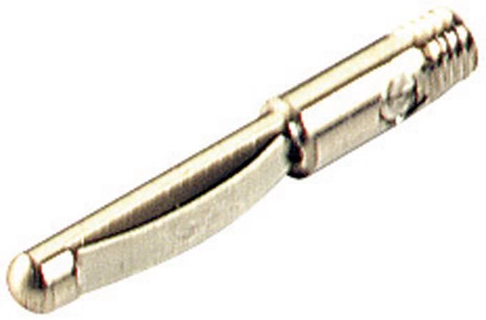 Banánový konektor SKS Hirschmann VST 100 – zástrčka, vstaviteľná vertikálna, Ø hrotu: 4 mm, poniklovaný, 1 ks