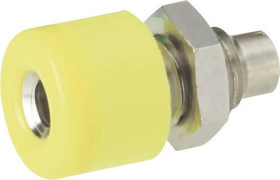 Mini laboratórna zásuvka Schnepp – zásuvka, vstavateľná vertikálna, Ø hrotu: 2.6 mm, žltá, 1 ks