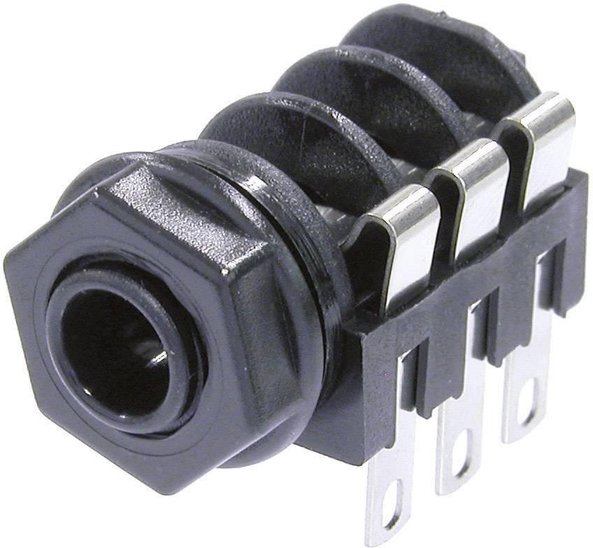 Jack konektor 6.35 mm stereo zásuvka, vstavateľná horizontálna Neutrik NMJ6HF-S, pinov 3, čierna, 1 ks