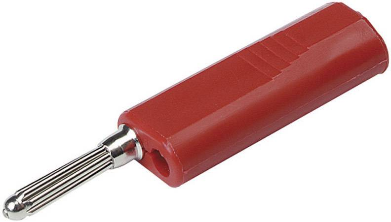 Banánový konektor SKS Hirschmann BSB 300 – zástrčka, rovná, Ø hrotu: 4 mm, červená, 1 ks
