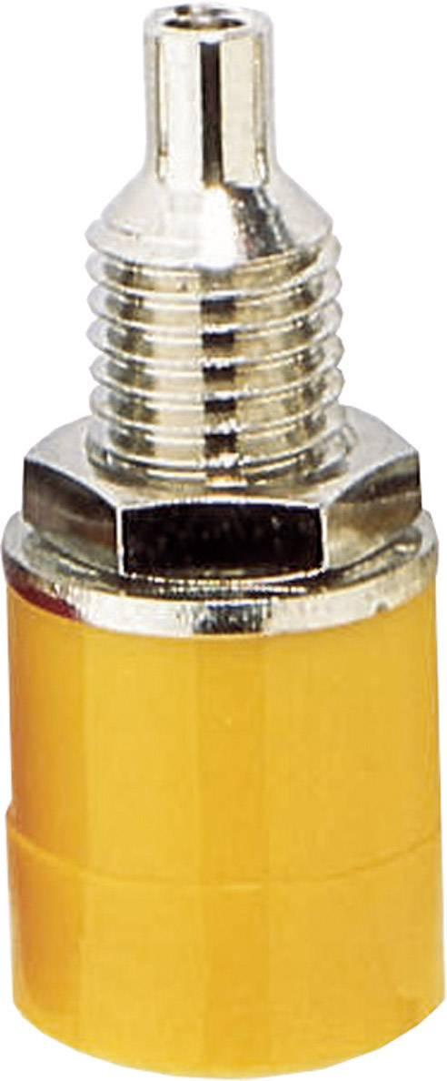 Laboratórna zásuvka BKL Electronic 072308 – zásuvka, vstavateľná vertikálna, Ø hrotu: 4 mm, žltá, 1 ks
