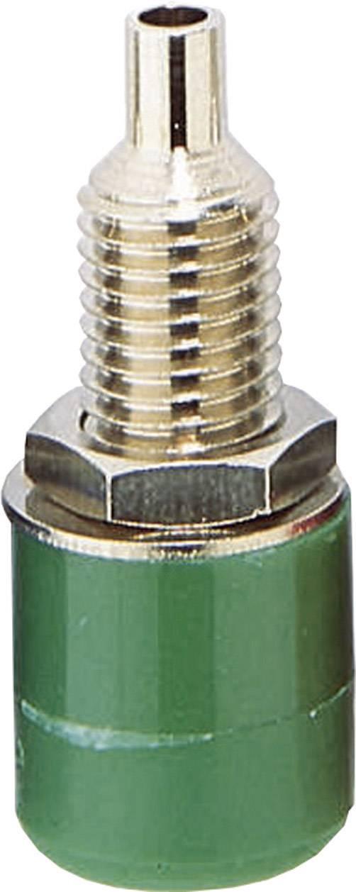 Laboratórna zásuvka BKL Electronic 072309 – zásuvka, vstavateľná vertikálna, Ø hrotu: 4 mm, zelená, 1 ks