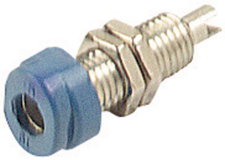 Laboratórna zásuvka SKS Hirschmann BUG 10 – zásuvka, vstavateľná vertikálna, Ø hrotu: 4 mm, modrá, 1 ks