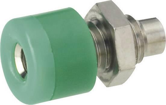Mini laboratórna zásuvka Schnepp – zásuvka, vstavateľná vertikálna, Ø hrotu: 2.6 mm, zelená, 1 ks