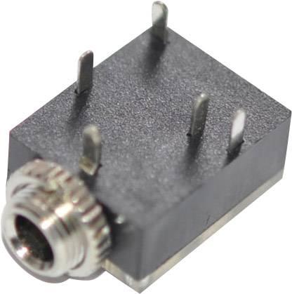 Jack konektor 3.5 mm stereo zásuvka, vstavateľná horizontálna počet pinov: 3, čierna, 1 ks