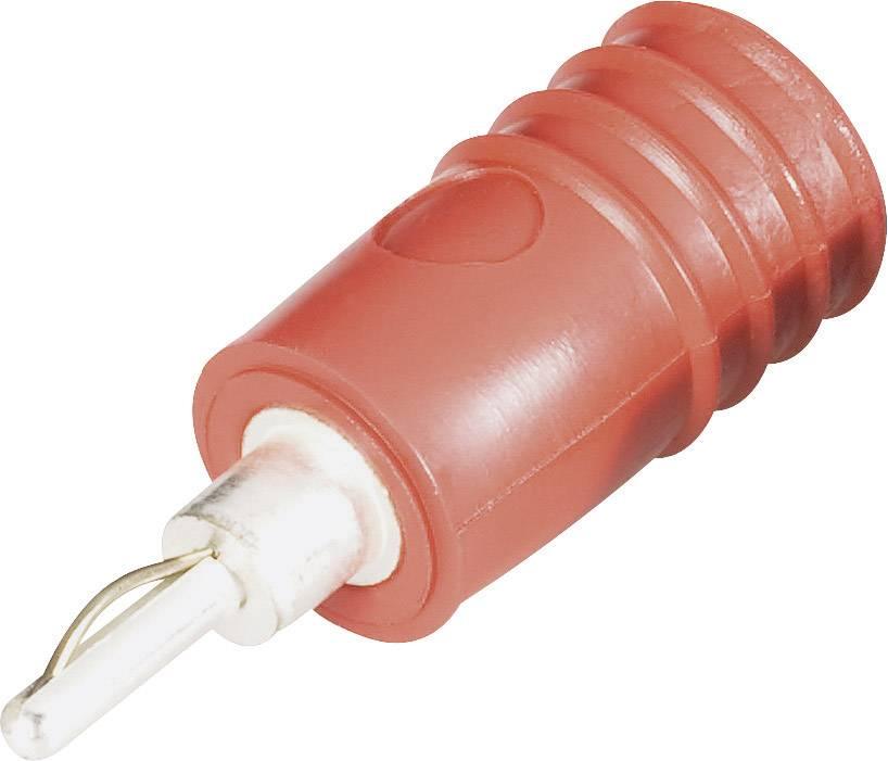 Prechodový konektor zástrčka 2 mm - zásuvka 4 mm Schnepp ÜS 2040, červená, 1 ks