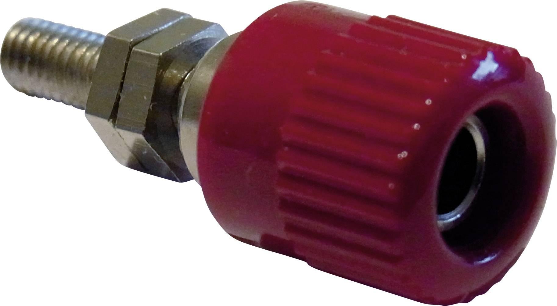Částečně izol.pólová svorka 4 mm, 6 A - červená