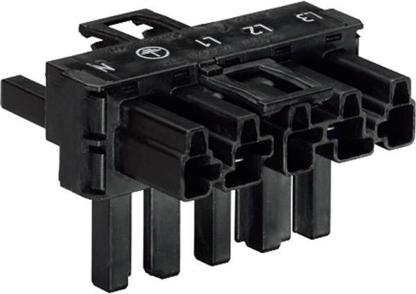 Sieťový T rozdeľovač sieťová zástrčka - sieťová zásuvka, sieťová zásuvka počet kontaktov: 4 + PE, čierna, 1 ks