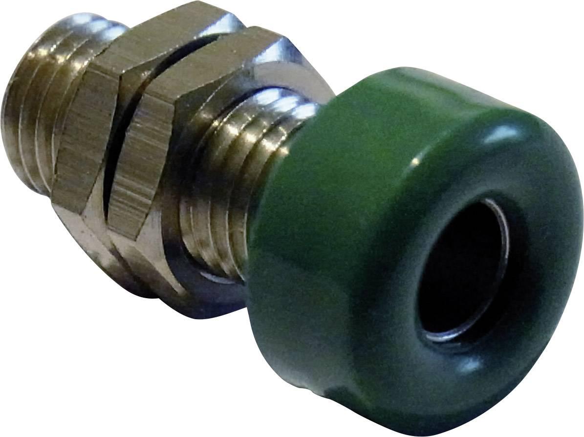 Laboratórna zásuvka Schnepp – zásuvka, vstavateľná vertikálna, Ø hrotu: 4 mm, zelená, 1 ks