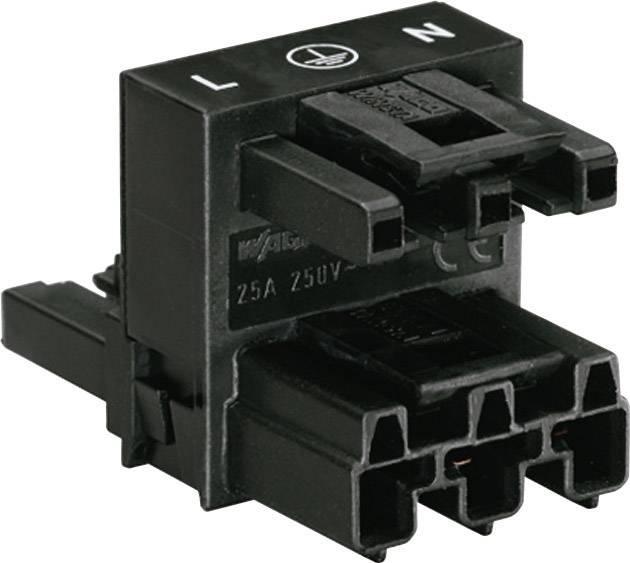 Sieťový H rozdeľovač sieťová zástrčka, sieťová zásuvka - sieťová zásuvka počet kontaktov: 2 + PE, čierna, 1 ks