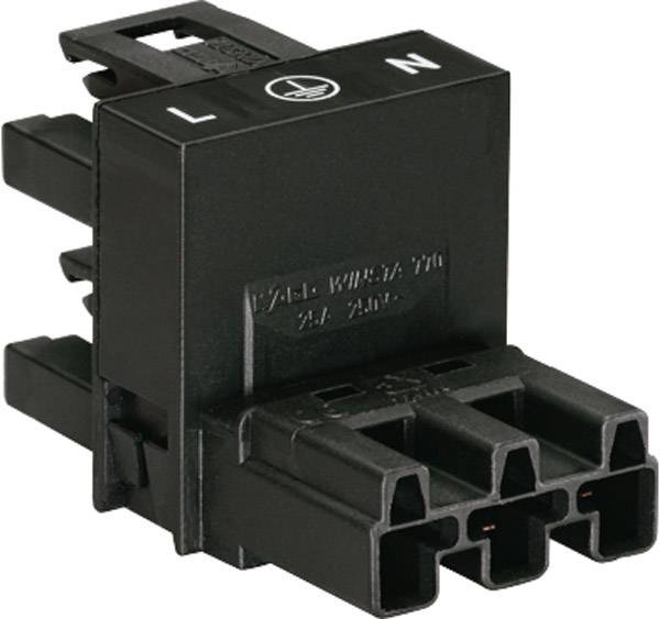 Sieťový H rozdeľovač sieťová zástrčka - sieťová zásuvka, sieťová zásuvka počet kontaktov: 2 + PE, čierna, 1 ks