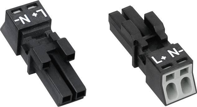 Sieťový konektor WAGO zásuvka, rovná, počet kontaktov: 2, 16 A, 250 V, čierna, 1 ks