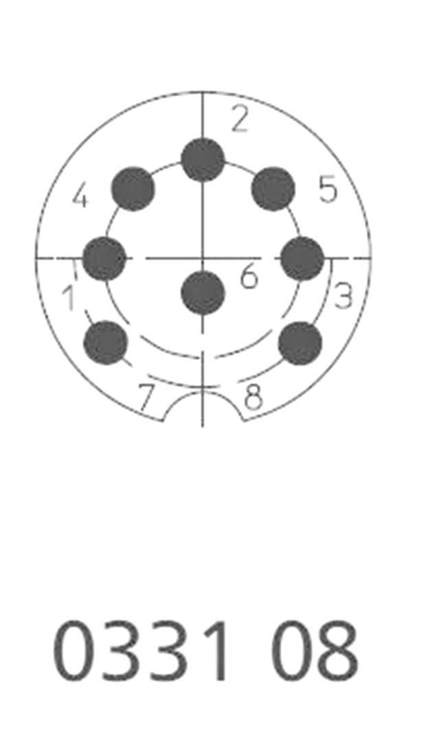 DIN kruhový konektor zástrčka, rovná Lumberg 0331 08, pinov 8, strieborná, 1 ks