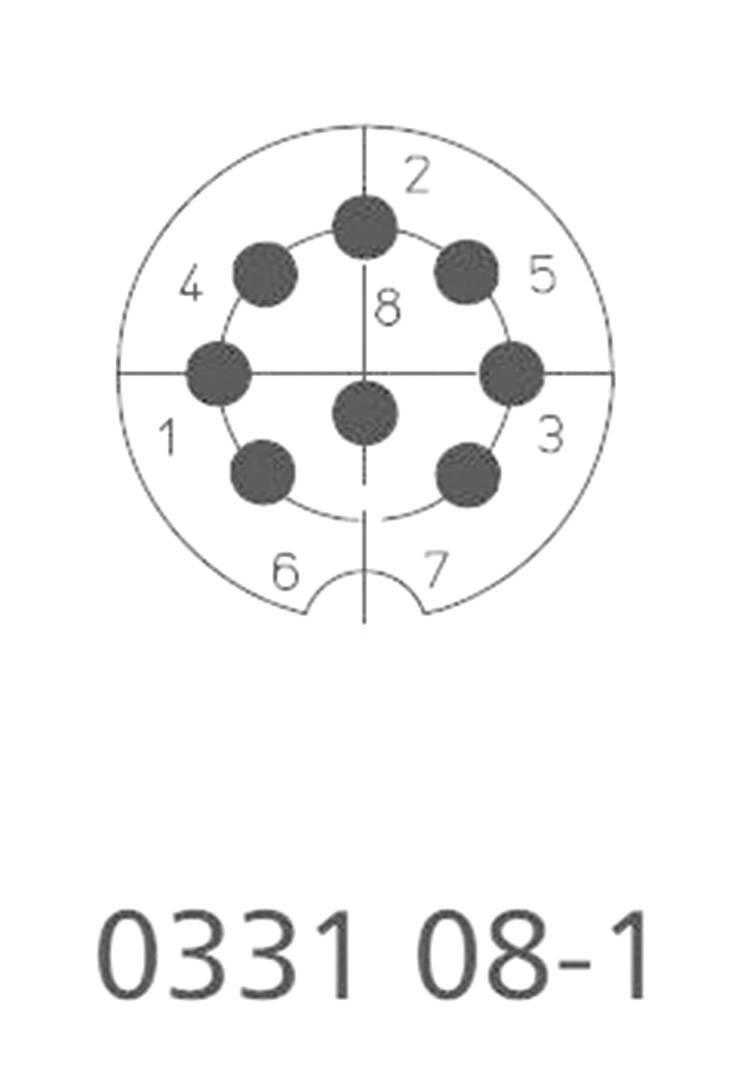DIN kruhový konektor zástrčka, rovná Lumberg 0331 08-1, pinov 8, strieborná, 1 ks