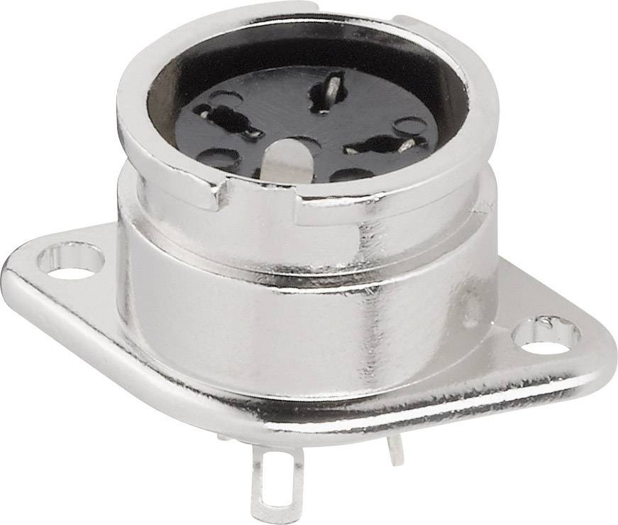 DIN kruhový konektor BKL Electronic 0202016, přírubová zásuvka, rovná, pólů 4, stříbrná, poniklovaný, 1 ks