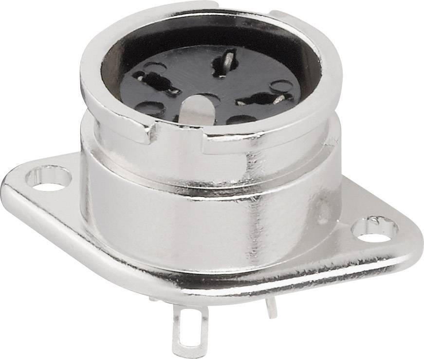 DIN kruhový konektor přírubová zásuvka, rovná BKL Electronic 0202016, pólů 4, stříbrná, 1 ks