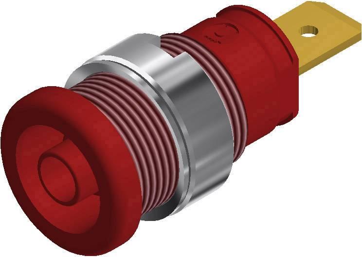 Bezpečnostná laboratórna zásuvka SKS Hirschmann SEB 2620 F6,3 – zásuvka, vstavateľná vertikálna, Ø hrotu: 4 mm, červená, 1 ks