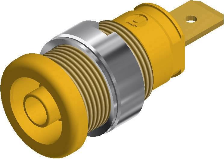 Bezpečnostná laboratórna zásuvka SKS Hirschmann SEB 2620 F6,3 – zásuvka, vstavateľná vertikálna, Ø hrotu: 4 mm, žltá, 1 ks