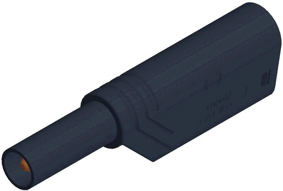 Bezpečnostná lamelová zástrčka SKS Hirschmann LAS S G – zástrčka, rovná, Ø hrotu: 4 mm, čierna, 1 ks