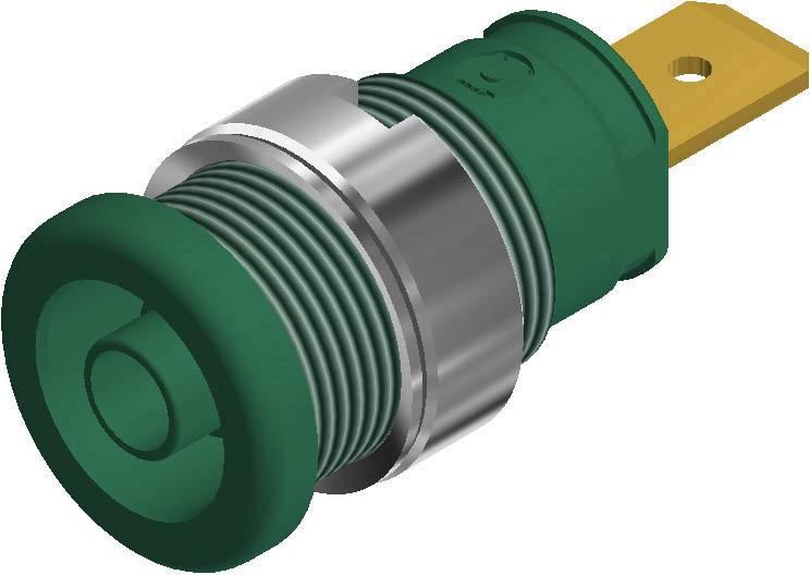 Bezpečnostná laboratórna zásuvka SKS Hirschmann SEB 2620 F6,3 – zásuvka, vstavateľná vertikálna, Ø hrotu: 4 mm, zelená, 1 ks