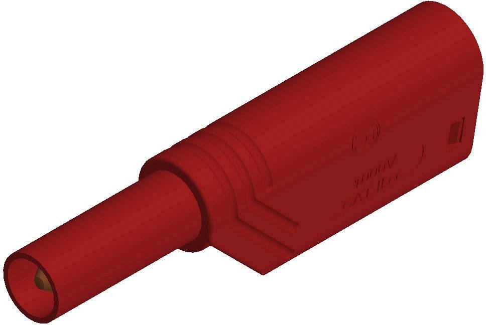 Bezpečnostná lamelová zástrčka SKS Hirschmann LAS S G – zástrčka, rovná, Ø hrotu: 4 mm, červená, 1 ks