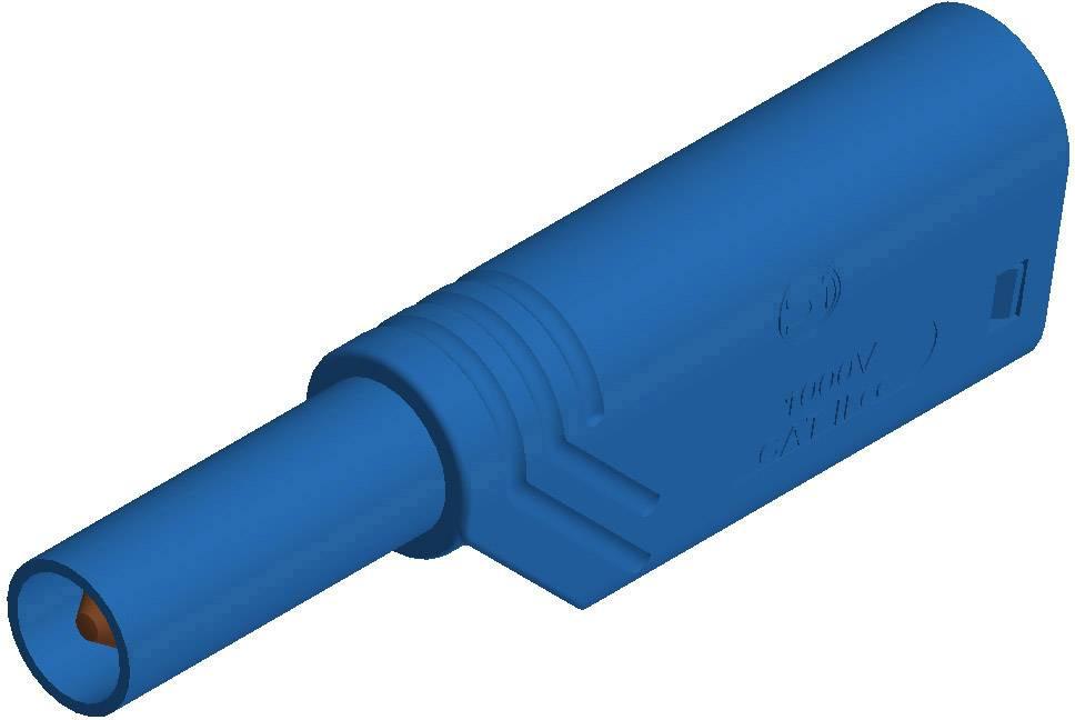 Bezpečnostná lamelová zástrčka SKS Hirschmann LAS S G – zástrčka, rovná, Ø hrotu: 4 mm, modrá, 1 ks