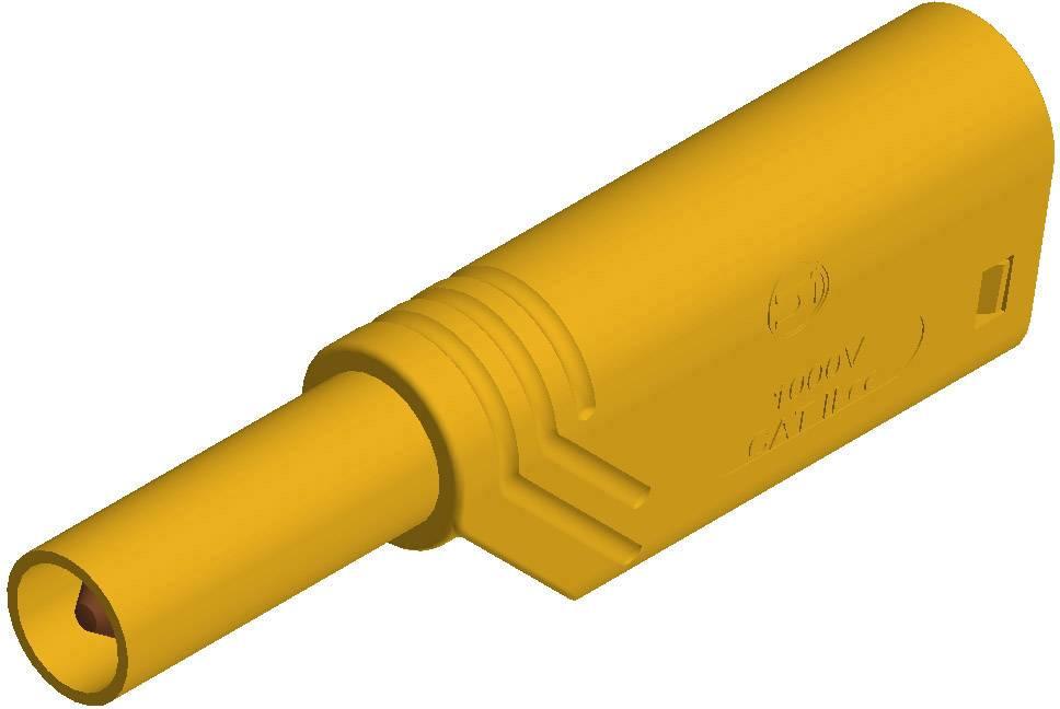 Bezpečnostná lamelová zástrčka SKS Hirschmann LAS S G – zástrčka, rovná, Ø hrotu: 4 mm, žltá, 1 ks