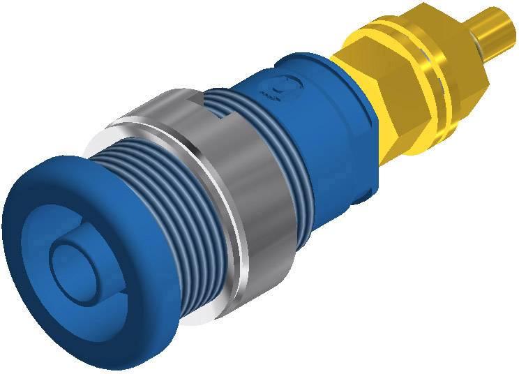 Bezpečnostná laboratórna zásuvka SKS Hirschmann SEB 2600 G M4 – zásuvka, vstavateľná vertikálna, Ø hrotu: 4 mm, modrá, 1 ks