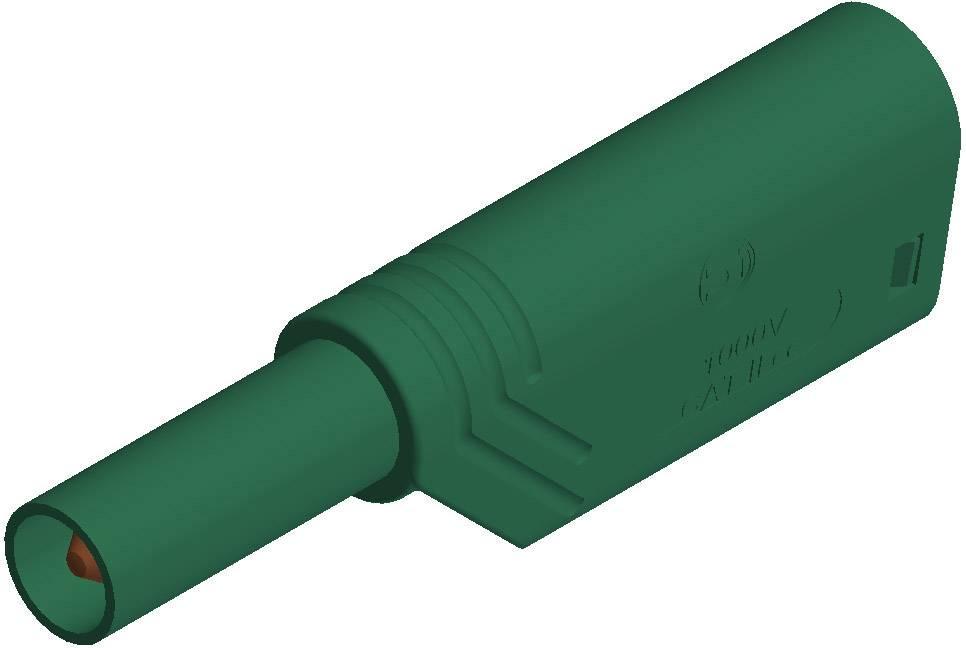 Bezpečnostná lamelová zástrčka SKS Hirschmann LAS S G – zástrčka, rovná, Ø hrotu: 4 mm, zelená, 1 ks