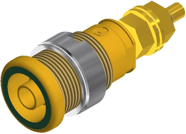 Bezpečnostná laboratórna zásuvka SKS Hirschmann SEB 2600 G M4 – zásuvka, vstavateľná vertikálna, Ø hrotu: 4 mm, zelenožltá, 1 ks