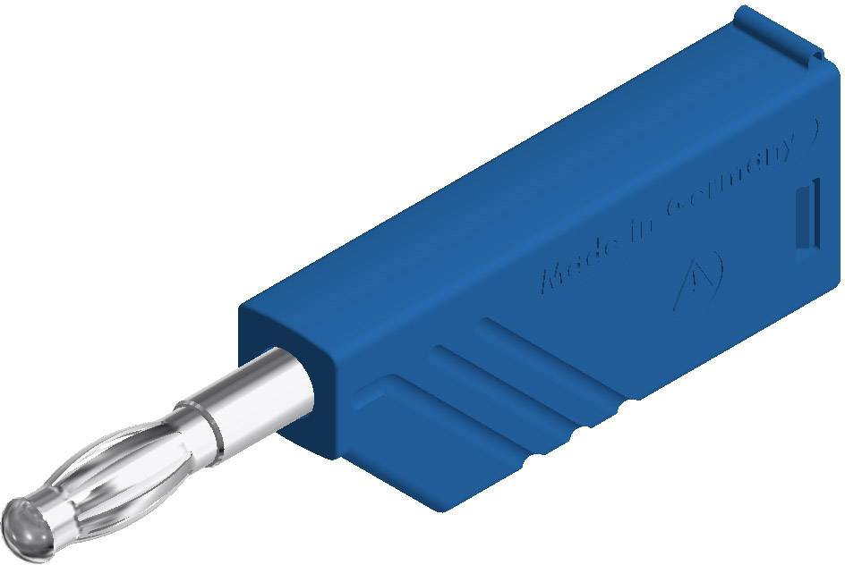 Lamelová zástrčka SKS Hirschmann LAS N WS – zástrčka, rovná, Ø hrotu: 4 mm, modrá, 1 ks