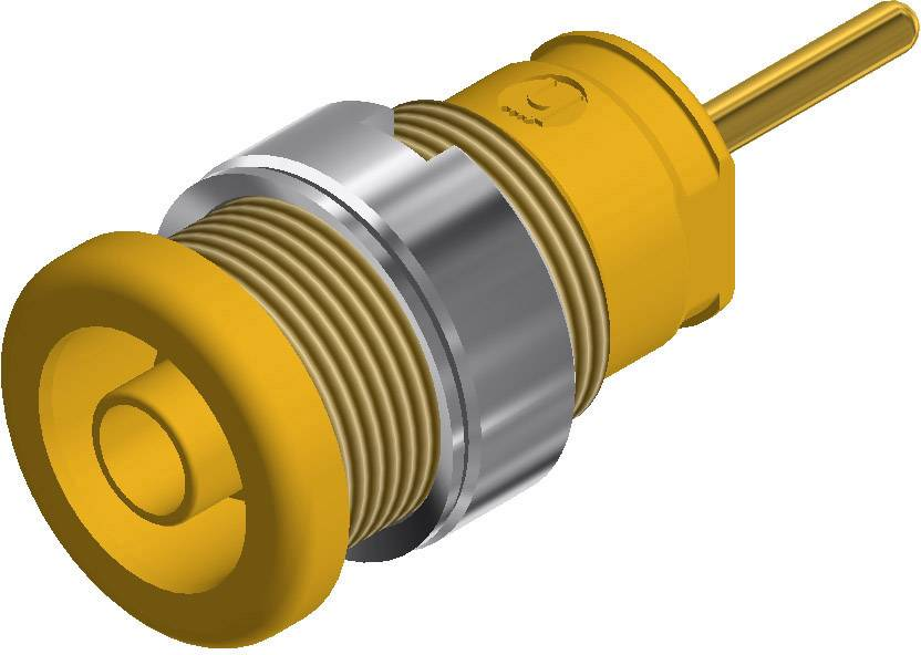 Bezpečnostná laboratórna zásuvka SKS Hirschmann SEB 2630 S1,9 – zásuvka, vstavateľná vertikálna, Ø hrotu: 4 mm, žltá, 1 ks
