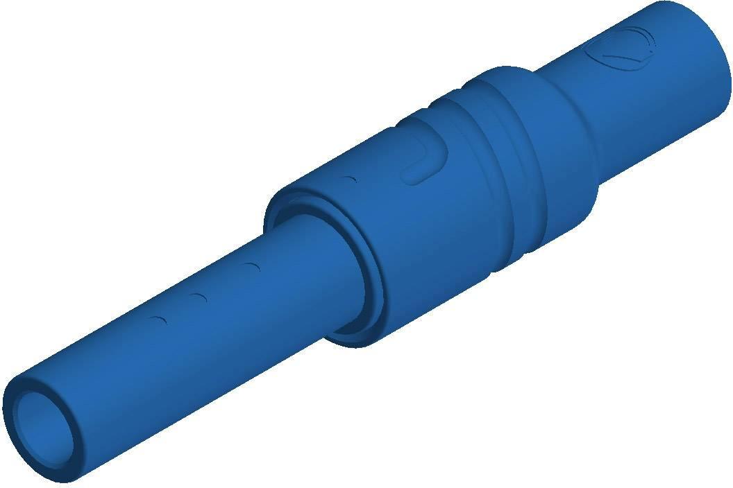 Bezpečnostná lamelová zásuvka SKS Hirschmann KUN S – zásuvka, rovná, Ø hrotu: 4 mm, modrá, 1 ks