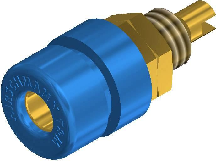 Laboratórna zásuvka SKS Hirschmann BIL 30 Au – zásuvka, vstavateľná vertikálna, Ø hrotu: 4 mm, modrá, 1 ks