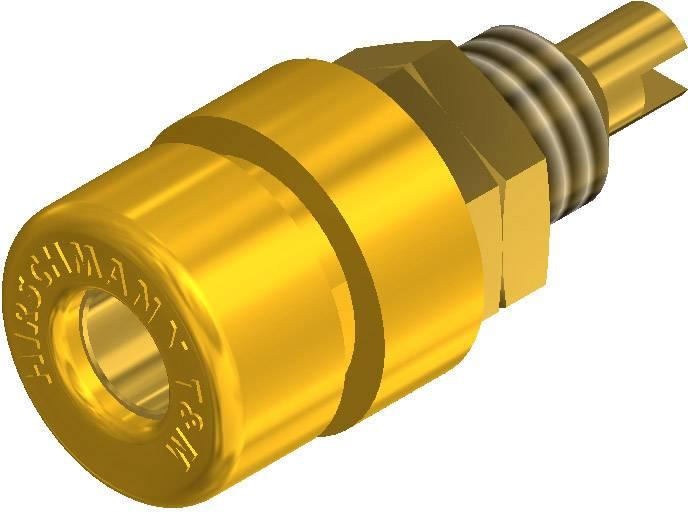 Laboratórna zásuvka SKS Hirschmann BIL 30 Au – zásuvka, vstavateľná vertikálna, Ø hrotu: 4 mm, žltá, 1 ks