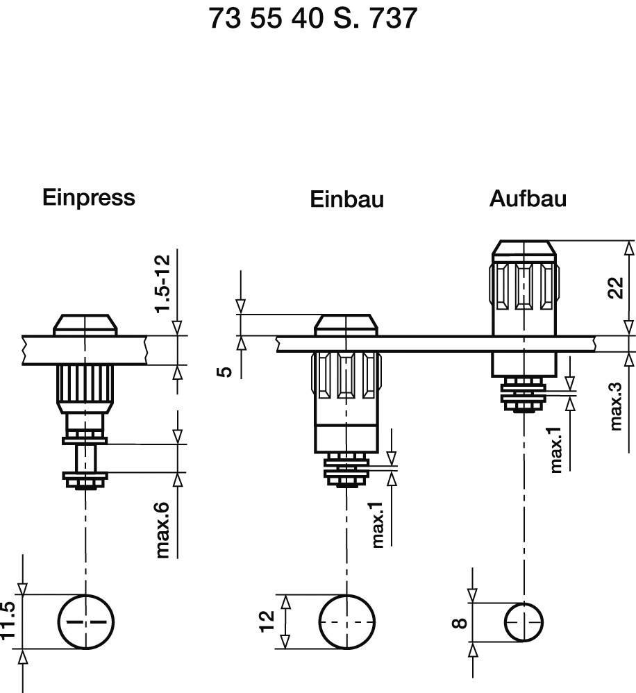 Laboratórna zásuvka Stäubli XUB-G – zásuvka, vstavateľná vertikálna, Ø hrotu: 4 mm, čierna, 1 ks