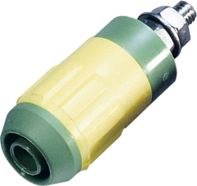 Laboratórna zásuvka Stäubli XUB-G – zásuvka, vstavateľná vertikálna, Ø hrotu: 4 mm, zelenožltá, 1 ks