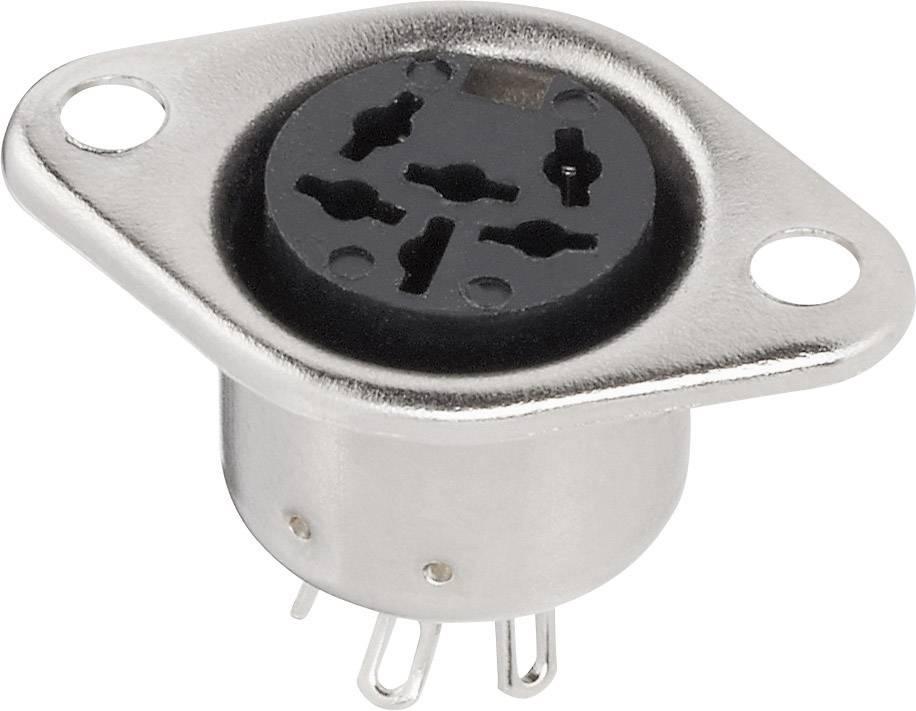 DIN kruhový konektor přírubová zásuvka, rovná BKL Electronic 0208091, pólů 4, stříbrná, 1 ks
