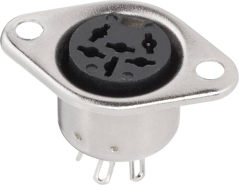 DIN kruhový konektor prírubová zásuvka, rovná BKL Electronic 0208092, počet pinov: 5, strieborná, 1 ks