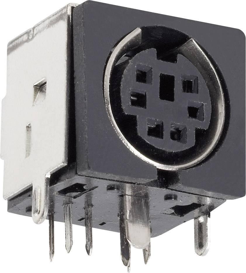 Mini DIN konektor BKL Electronic 0204048, zásuvka, vestavná horizontální, pólů 4, černá, poniklovaný, 1 ks